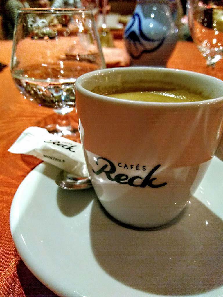 Kaffee Reck im Hotel Restaurant des Vosges in La Hoube, Vosges du Nord, Nordvogesen, Lorraine, Elsass, übernachten